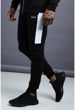 Mens Black MAN Skinny Jersey Jogger With Side Panels