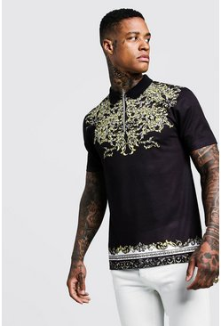 Mens Black Short Sleeve Baroque Print Zip Polo