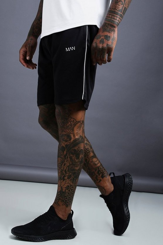 Mens Black MAN Poly Tricot Mid Length Shorts