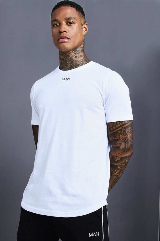 Mens White MAN T-Shirt With Curved Hem & Back Panels