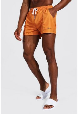 Orange Man Signature Pintuck Short Length Swim Short