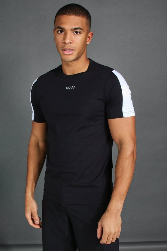 Mens Black MAN Short Sleeve T-Shirt With Sleeve Panel