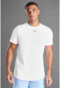 White MAN Curved Hem Short Sleeve T-Shirt
