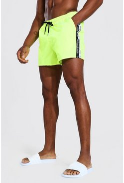 Neon-yellow Man Tape Short Length Swim Short