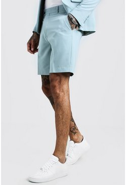 Mens Duck egg Plain Smart Pintuck Tailored Short