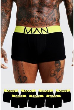 Mens Neon-yellow 7 Pack Neon Waistband Boxers