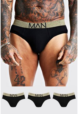 Mens 3 Pack Gold Briefs