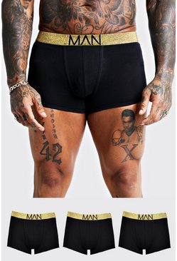Mens 3 Pack Gold Waistband Trunks