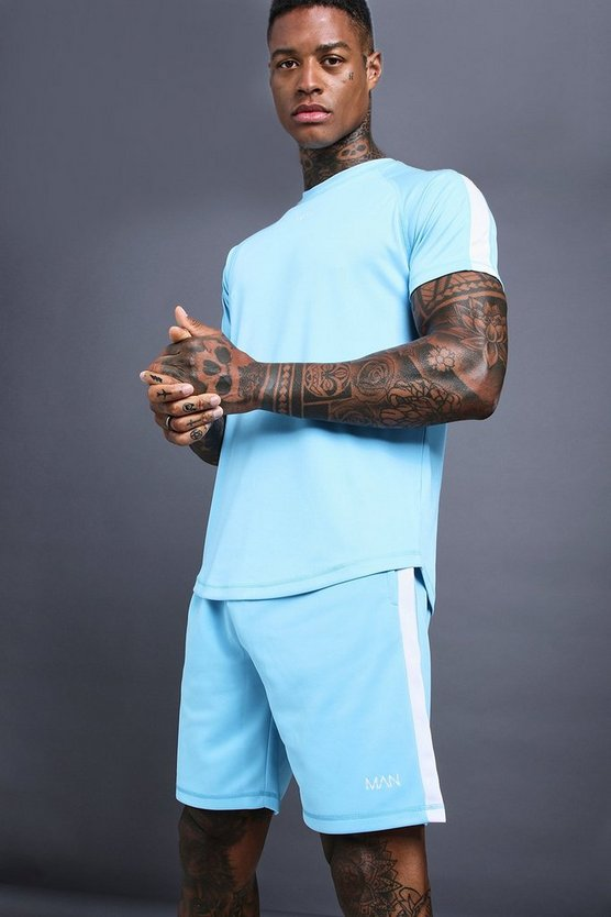 Mens Blue MAN Muscle Fit Poly Tricot Short set