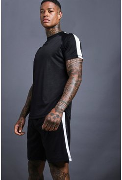 Mens Black MAN Muscle Fit Poly Tricot Short Set