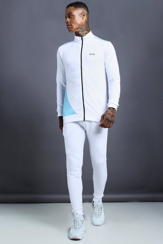 Mens White MAN Skinny Fit Zip Through Funnel Neck Tracksuit