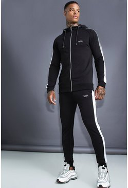 Mens Black MAN Muscle Fit Hooded Reflective Detail Tracksuit