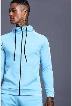 Mens Blue MAN Muscle Skinny Fit Tracksuit With Side Panels