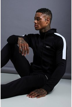 Mens Black MAN Muscle Fit Poly Tracksuit