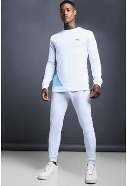 Mens White MAN Skinny Fit Jersey Tracksuit With Panel Detail