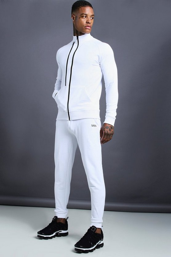 Mens White MAN Skinny Fit Funnel Neck Zip Detail Tracksuit