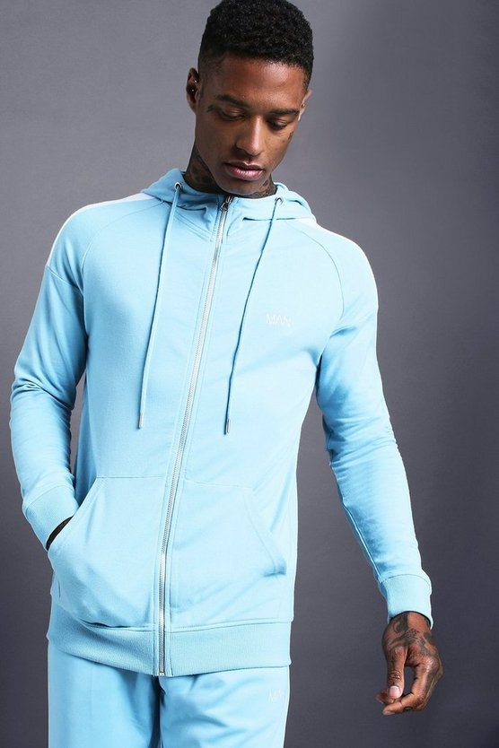 Blue MAN Skinny Jersey Zip Through Hoodie With Panels