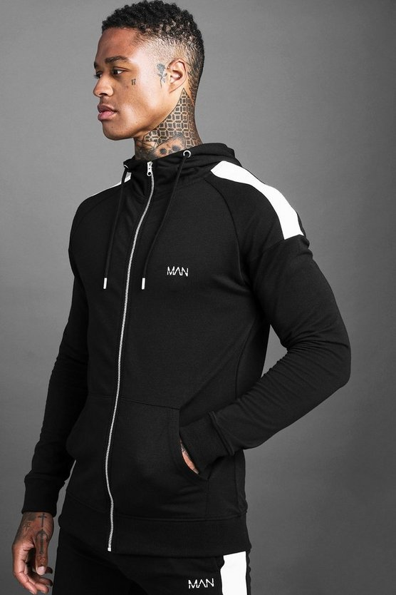 Mens Black MAN Skinny Jersey Zip Through Hoodie With Panels