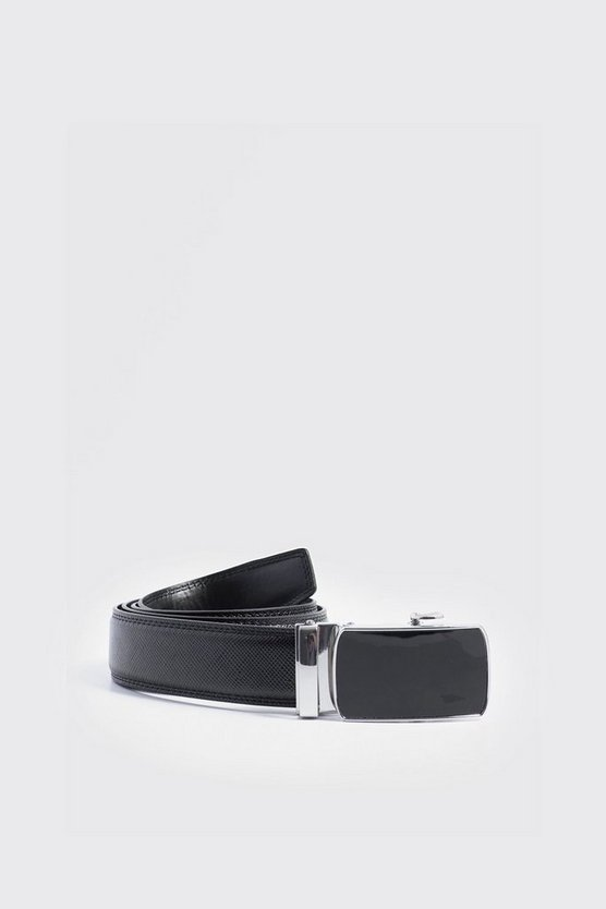 Mens Black Saffiano Effect Covered Buckle Faux Leather Belt