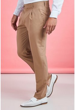 Mens Taupe Pleat Front Plain Smart Pants
