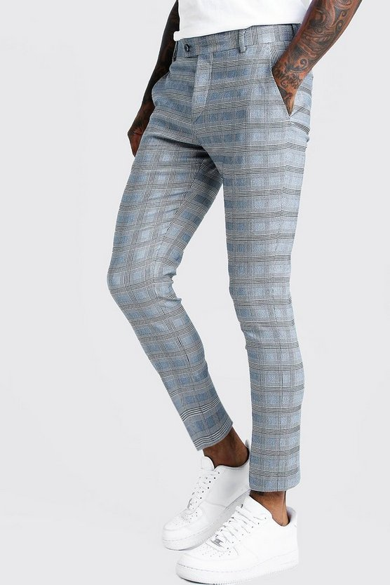 Mens Grey Check Tape Detail Smart Cropped Skinny Trouser