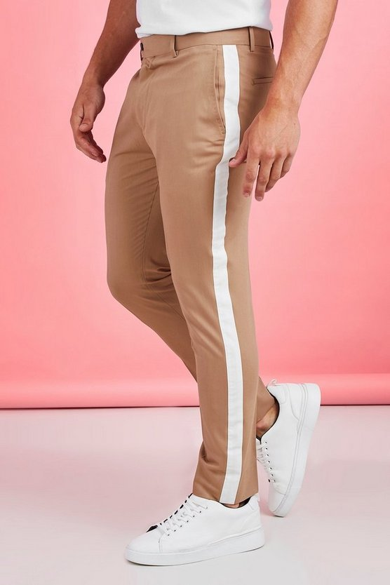 Mens Taupe Tape Detail Smart Cropped Skinny Pants