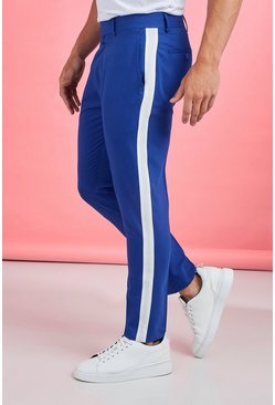 Mens Cobalt Tape Detail Smart Cropped Skinny Trouser