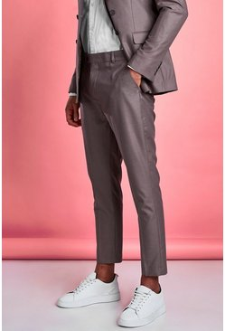 Taupe Skinny Fit Plain Suit Pants