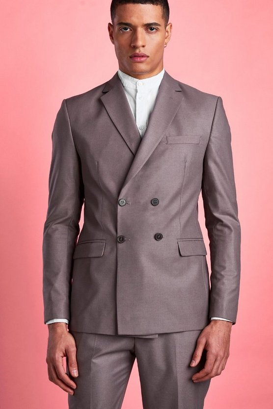 Taupe Plain Double Breasted Horn Button Jacket