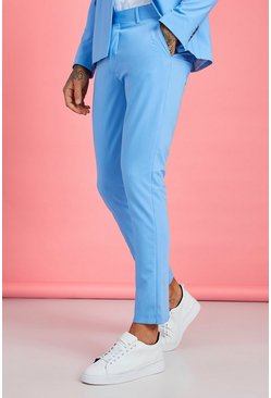 Light blue Skinny Fit Plain Suit Pants