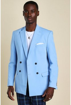 Mens Light blue Plain Double Breasted Horn Button Jacket
