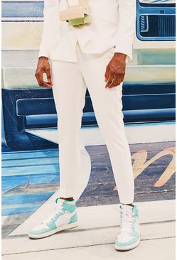 Mens White Plain Cropped Skinny Suit Pants