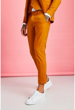 Mustard Skinny Fit Plain Cropped Pants