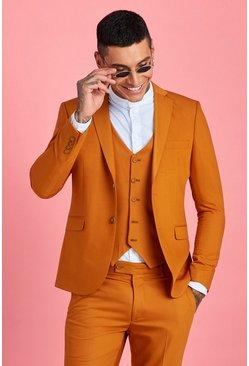 Mustard Skinny Fit Plain Suit Jacket
