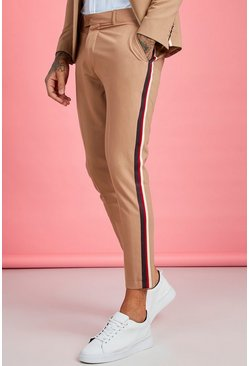 Mens Taupe Skinny Fit Tape Detail Suit Pants