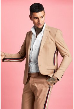 Mens Taupe Skinny Fit Tape Detail Suit Jacket