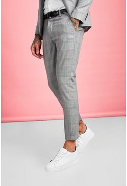 Brown Skinny Fit Smart Check Suit Trouser