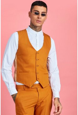 Mustard Skinny Fit Plain Vest
