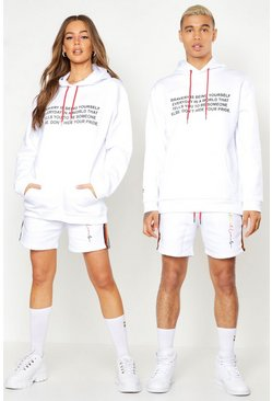 Mens White Pride Loose Fit Hoodie With Front & Back Print