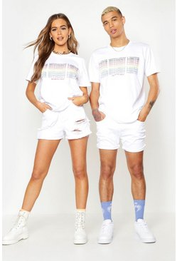 Mens White Pride T-Shirt With Gradient Rainbow Print