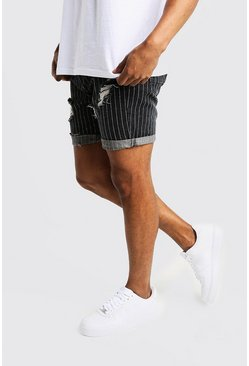 Mens Black Slim Fit Denim Shorts With Pinstripe Detail
