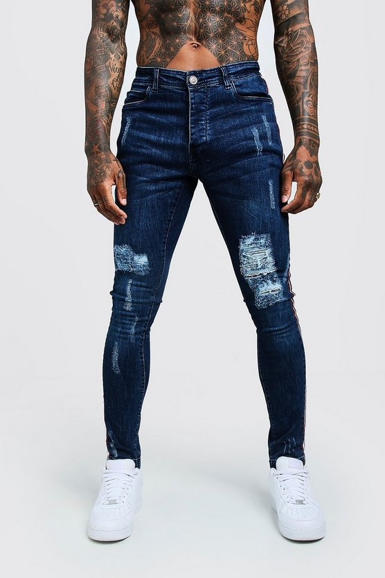 Mens Dark blue Super Skinny Distressed Jeans With Side Tape