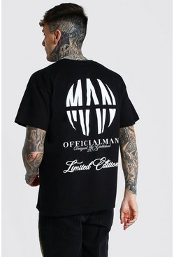 Black Oversized Official Man Logo Graphic T-Shirt