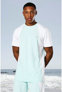 Mint Man Active Tonal Colour Block T-shirt