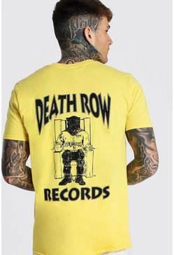 Yellow Oversized Death Row Front & Back Print Tee