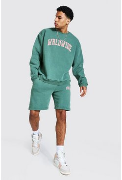 Green Oversized Overdyed Wrldwide Short Tracksuit