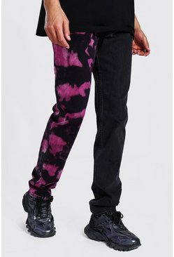 Tall Straight Leg Tie Dye Spliced Jean, Black