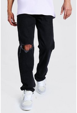 Tall Straight Leg Jean With Exploded Knee, Black