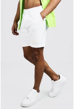 Mens White Skinny Fit Chino Short In Mid Length
