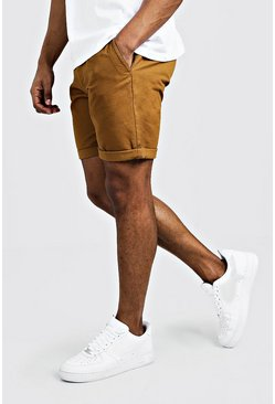 Mens Tobacco Skinny Fit Chino Short In Mid Length